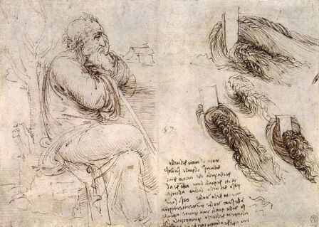 Leonardo da Vinci, Old Man Seated and Swirling Water, 1513, Royal Library, Windsor